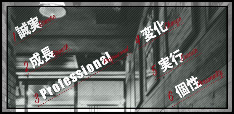 1.誠実 2.成長 3.Professional 4.変化 5.実行 6,個性